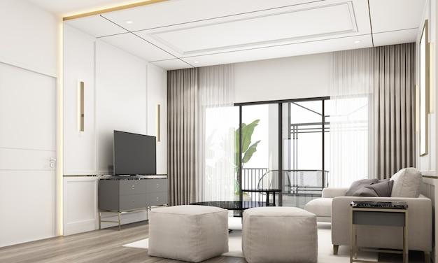 Innenarchitektur im modernen klassischen stil des wohnbereichs mit weißer marmor- und goldstruktur und weißen möbeln mit integriertem 3d-rendering-interieur