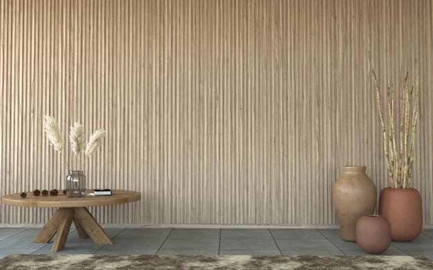 Innenarchitektur mit lattenholzwandhintergrund, 3d-darstellung