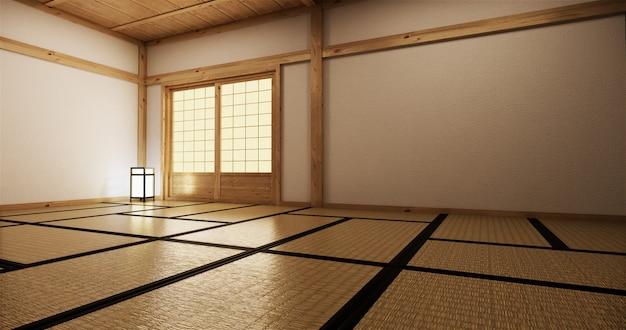 Innenarchitektur, modernes leeres wohnzimmer mit tisch, fußboden tatami-matte. 3d-rendering