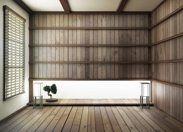 Innenarchitektur, modernes wohnzimmer mit holzfußboden und holzwand im japanischen stil