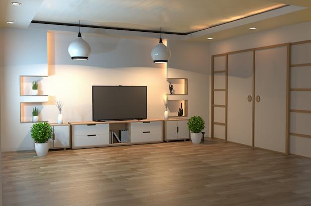 Innenarchitektur, modernes wohnzimmer mit intelligentem fernsehen, tabelle, lampe, holzfußboden und weißer wand