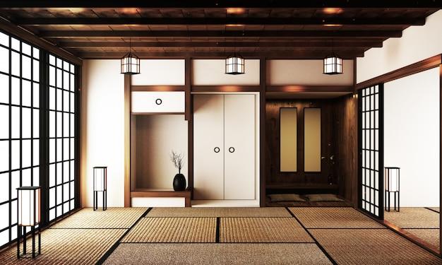 Innenarchitektur, modernes wohnzimmer mit tisch auf tatami-mattenboden im japanischen stil. 3d-rendering