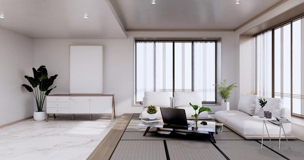 Innenarchitektur, zen modernes wohnzimmer im japanischen stil. 3d-rendering
