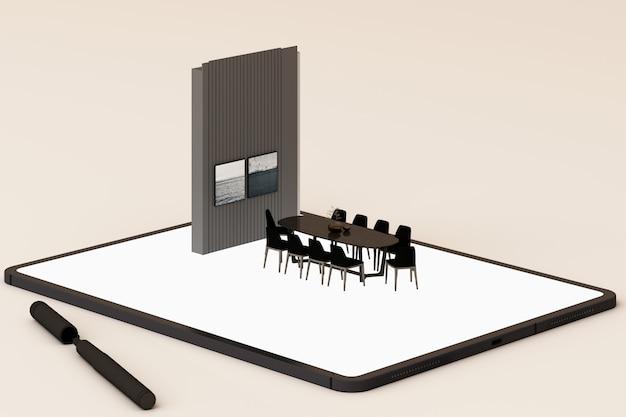 Innenarchitekturkonzept: geschäftsmann mit einem tablett mit innenarchitektur-app auf dem bildschirm. 3d-rendering