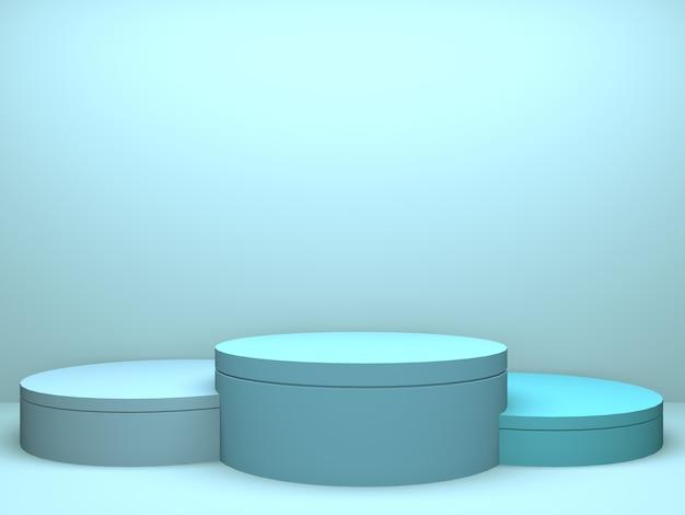 Innenarchitekturprodukthintergrund des blauen rauminnenraums der pastellkreis-geometrie