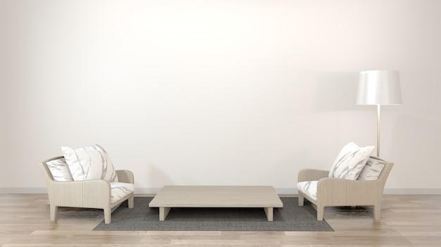 Innenarchitekturzenwohnzimmer mit niedriger tabelle, kissen, rahmen, lampe auf holzfußboden wiedergabe 3d