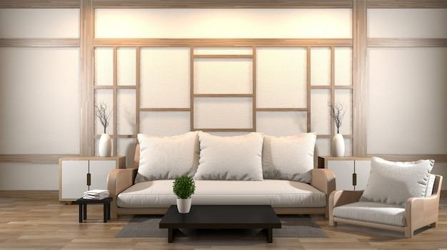 Innenarchitekturzenwohnzimmer mit niedriger tabelle, kissen, rahmen, lampe auf holzfußboden