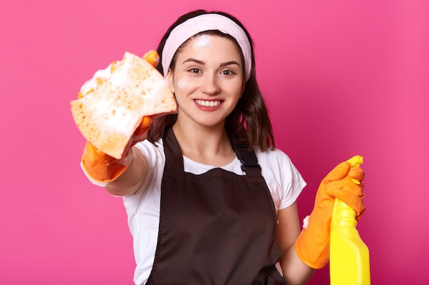 Innenaufnahme der glücklichen kaukasischen jungen frau im weißen lässigen t-shirt, haarband, braune schürze, hält schwamm und reinigungsmittel, bereit, hausarbeit zu tun, steht lächelnd auf rosenwand. hygienekonzept
