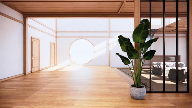 Innenausstattung im ersten stock im japanischen stil in einem zweistöckigen haus. 3d-rendering