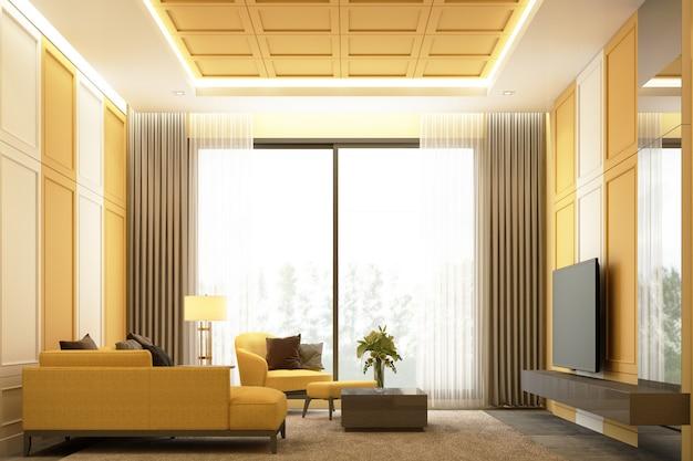 Innenbildszenendesign des gelbtons moderner luxuswohnbereich mit klassischer elementdetailwanddekoration und 3d-rendering des möbelsatzes