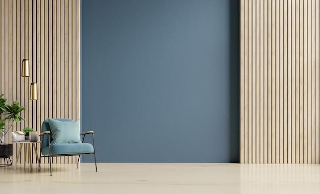 Innendekoration des wohnzimmers mit auf leerer dunkelblauer wand, 3d-darstellung