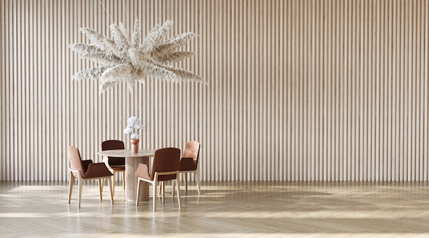 Innendesign mit dem runden tisch und hängender pampaswolke auf der holzlattenwand 3d-rendering
