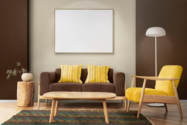 Inneneinrichtung des wohnzimmers im skandinavischen stil in warmen tönen