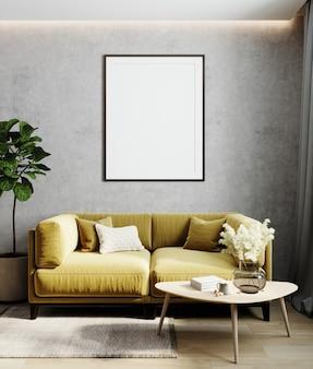 Inneneinrichtung mit posterrahmenmodell, gelbes bequemes sofa an grauer wand mit holzmöbeln und pflanzen, 3d-rendering