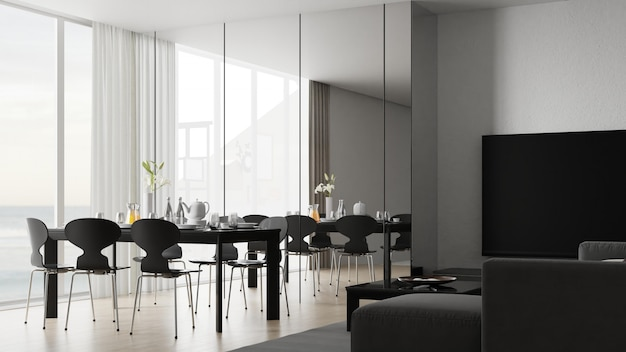 Innenesszimmer mit tisch und stühlen. 3d-rendering.