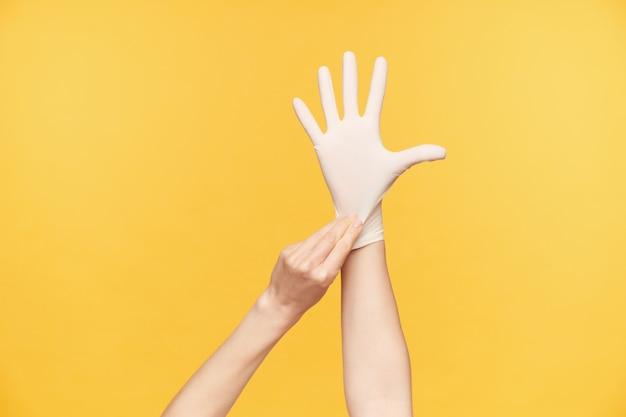 Innenfoto der hand der jungen frau, die angehoben wird, während sie gummihandschuh aufnimmt und alle finger getrennt hält, isoliert gegen orange hintergrund