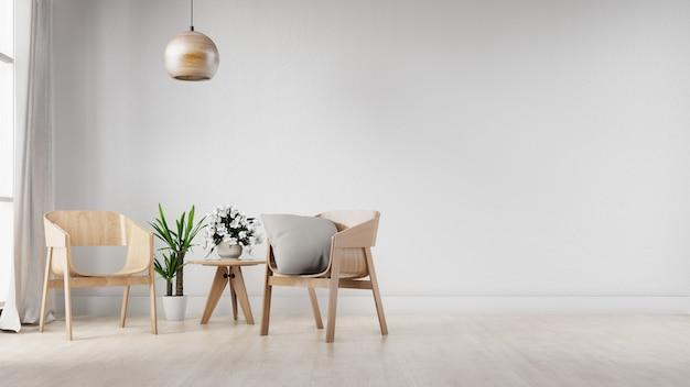 Innenhauptraum mit stühlen, tabelle und leerer weißer wand. 3d-rendering.