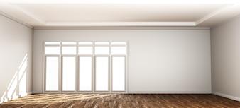 Innenhintergrund des leeren Raumes mit Tür. 3D-Rendering