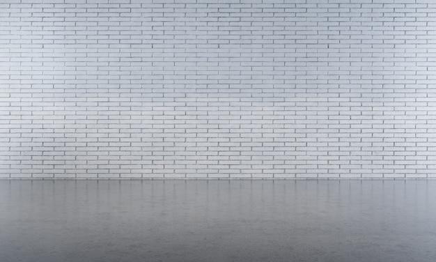 Innenhintergrund und leeres wohnzimmer und weiße backsteinmauerbeschaffenheit 3d übertragen