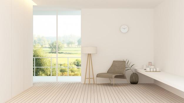 Innenhotel entspannen sich wiedergabe des raumes 3d - naturansichthintergrund