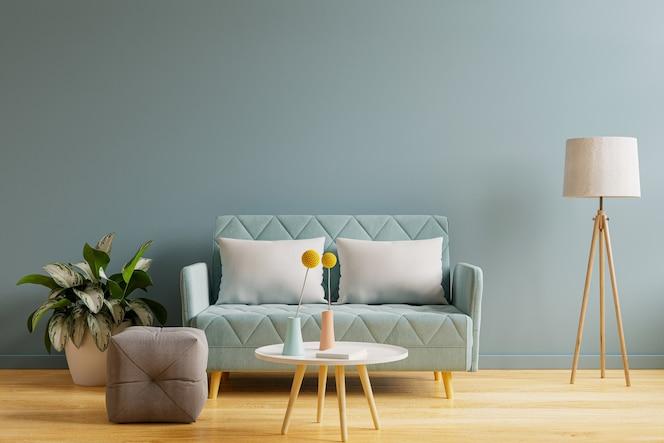 Innenmodell mit sofa im wohnzimmer mit leerem blauem wandhintergrund. 3d-rendering