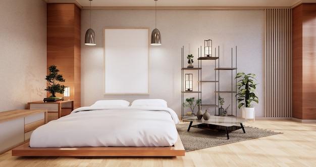 Innenmodell mit zen-bettanlage und dekoartion im japanischen schlafzimmer. 3d-rendering.