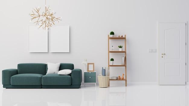 Innenplakat verspotten wohnzimmer mit dunkelblauem sofa 3d-rendering