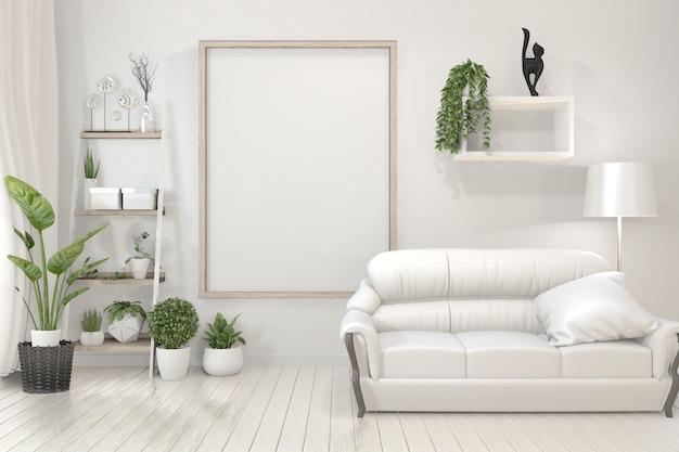 Innenplakatholzrahmen, -sofa, -anlage und -lampe im wohnzimmer mit minimalem design der weißen wand.