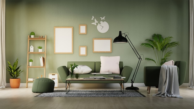 Innenplakatspott herauf wohnzimmer mit buntem weißem sofa. 3d-rendering.