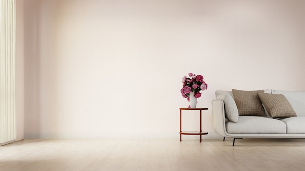 Innenplakatwohnzimmer mit buntem weißem sofa