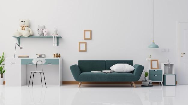 Innenplakatwohnzimmer mit buntem weißem sofa.