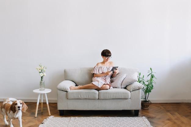 Innenporträt des amüsierten mädchens mit kurzer frisur unter verwendung der tablette, während ihr beagle-hund um couch herumläuft
