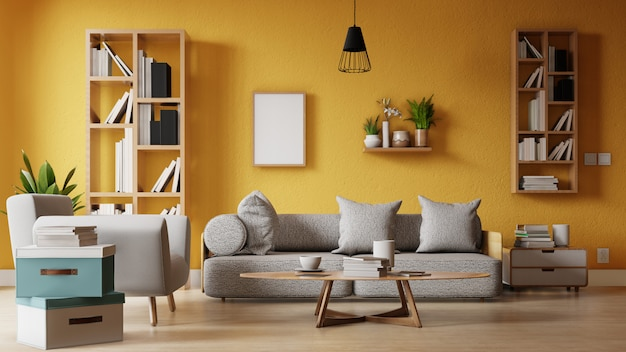 Innenrahmenwohnzimmer mit buntem weißem sofa