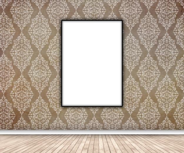 Innenraum 3d mit dem leeren bild, das an der damasttapete hängt