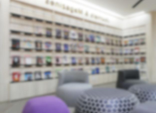 Innenraum der abstrakten unschärfe der öffentlichen bibliothek für hintergrund.