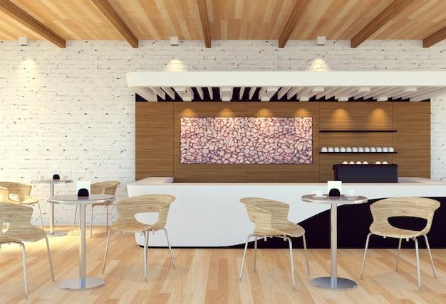Innenraum der leeren modernen kaffeestube