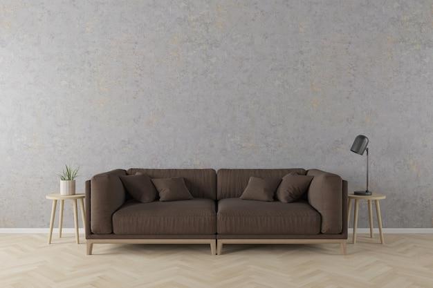 Innenraum der modernen art des wohnzimmers mit braunem gewebesofa, hölzerner seitentabelle und schwarzer tischlampe auf betonmauer und bretterboden.