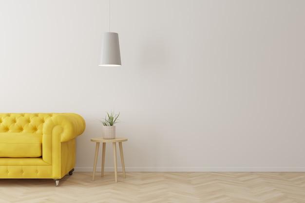 Innenraum der modernen art des wohnzimmers mit gelbem sofa, hölzerner seitentabelle und weißer deckenleuchte auf bretterboden.