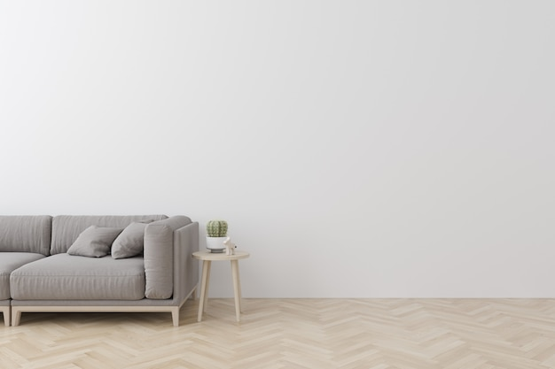 Innenraum der modernen art des wohnzimmers mit gewebesofa, seitentabelle und leerer weißer wand auf holzfußboden