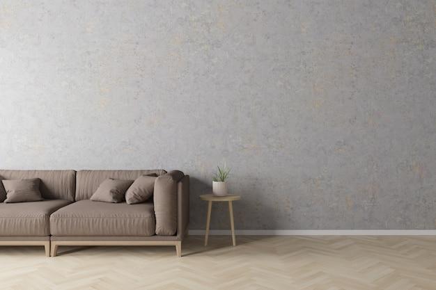 Innenraum der modernen art des wohnzimmers mit grauem gewebesofa, hölzerner seitentabelle auf betonmauer und bretterboden.