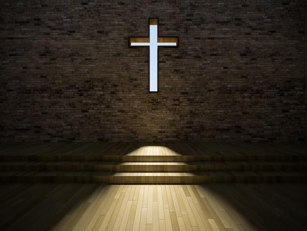 Innenraum der modernen kirche 3d