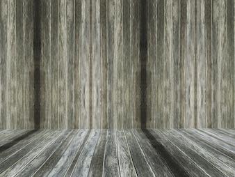 Innenraum des alten hölzernen Raumes 3D