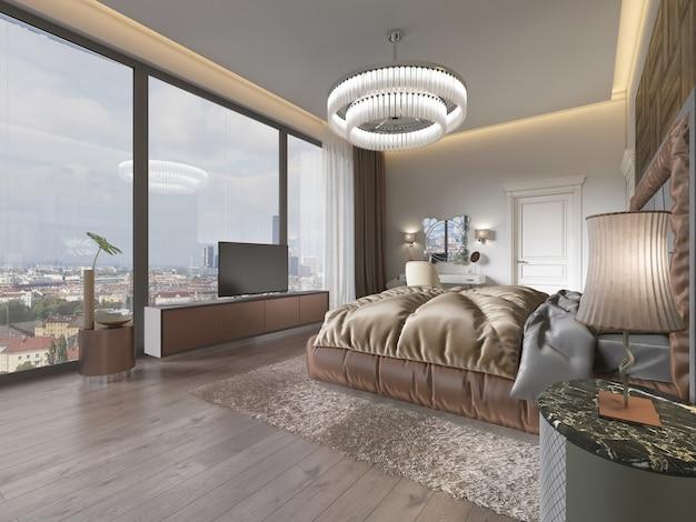 Innenraum des braunen und beige gemütlichen schlafzimmers 3d-rendering