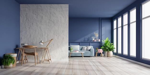 Innenraum des hellen raumes mit sofa auf leerer dunkelblauer wand und büroraum auf leerer weißer gipswand, 3d-darstellung