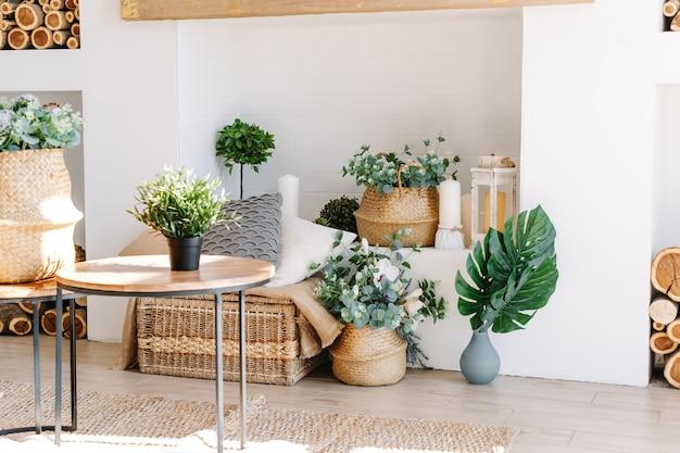 Innenraum des hellen wohnzimmers im skandinavischen stil mit couchtisch und pflanzen.