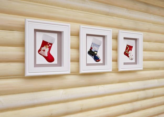 Innenraum des hölzernen weihnachtshauses mit weihnachtsdekorationen