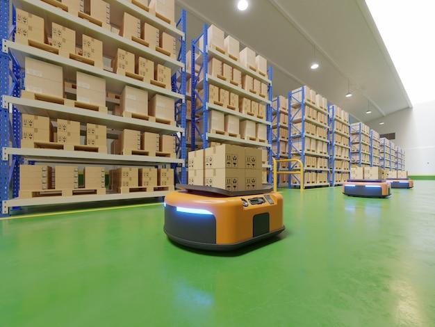 Innenraum des lagers im logistikzentrum mit fahrerloses transportfahrzeug ist ein lieferfahrzeug.