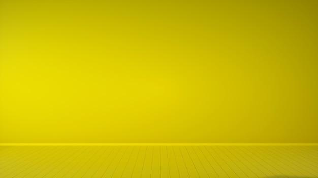 Innenraum des lebenden gelbtons auf gelbem boden und. 3d-illustration.