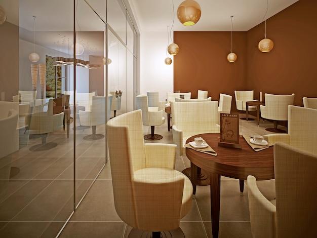 Innenraum des modernen cafés in braun