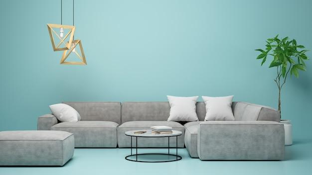 Innenraum des modernen wohnzimmers 3d-rendering